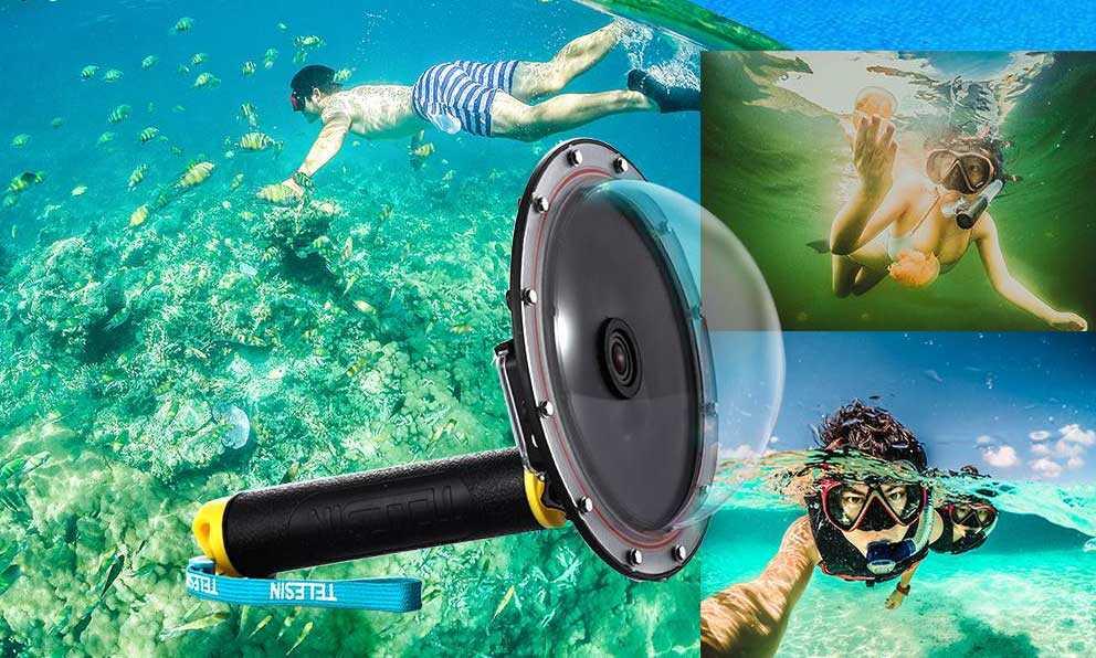 Dome per GoPro e Action Cam | Custodia Subacquea Impermeabile a Cupola  | Foto a metà acqua | 100 euro